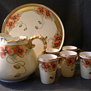 Howard B Reury Chicago Studio H. P. Porcelain &quot;Poppies&quot; Lemonade Set w/Tray