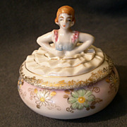 Hand-Painted Porcelain Figural Covered Vanity Jar/Trinket Box