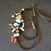 Virgil & Shirley Benn &quot;Koshari Kachina&quot; Silver & Inlay Bolo Tie
