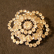 """By Gale"" Silver-Tone and Diamond Rhinestone Brooch"