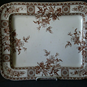Wallace Gimson & Co. &quot;Garfield&quot; Pattern Brown Transfer-ware Platter