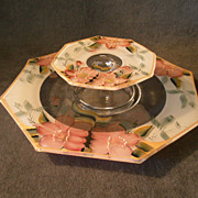 Depression Era Clear Glass  Cheese & Crackers Server with Hand-Painted &quot;Azalea&quot; Flor