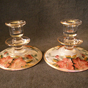 Depression Era Clear Glass Pair of Candle Holders  with Hand-Painted &quot;Azalea&quot; Floral
