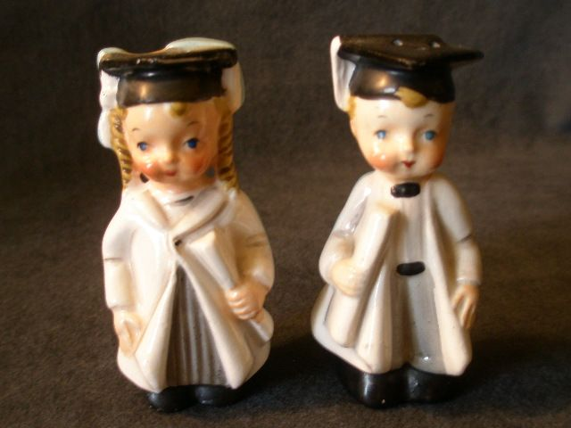 "George Lefton China ""Turn About Graduate"" Boy & Girl S/P Shakers"