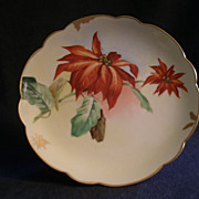 Pickard Studio Hand Painted Cabinet Plate w/Poinsettia Motif