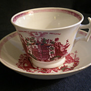 Independent Order Of Odd Fellows Fraternity Cup & Saucer - Circa 1800&quot;s