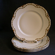 Set of 4 Haviland & Co. Limoges &quot;Clover Leaf&quot; Dinner Plates, Schleiger #98