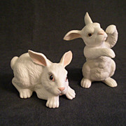 "Pair of E.M.Boehm Rabbits - ""Standing Rabbit & Newborn Playing Rabbit"""