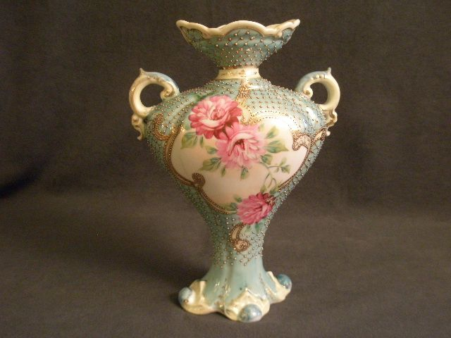 Nippon Hand Painted Vase w/Chrysanthemum & Gold Enamel Decoration