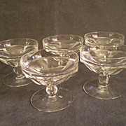 Set of 5 - Heisey Colonial Sherbets, Clear, Stem #300