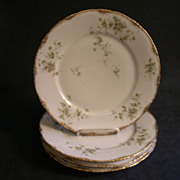 Set of 4 - Theodore Haviland Floral Motif Dinner Plates, Schleiger #150-24, Blank 130