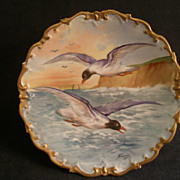 French L R L Limoges Hand Painted Game Plate w/Sea Gulls in Flight