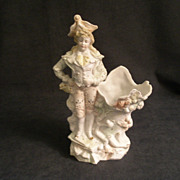 Victorian-Style Bisque Figurine Vase of Dapper Gentlemen
