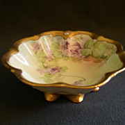 "Pickard China Hand Painted ""Spring Violets"" Condiment Bowl w/Scalloped Feet"