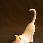 Herend Porcelain &quot;Cat Playing with Blue Ball&quot; Figurine