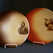 Pair of Warwick Ioga Plates w/Transfer Portrait of Monks