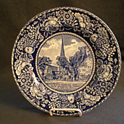 British Anchor Pottery &quot;The Elm At Cambridge Mass&quot; Souvenir Plate