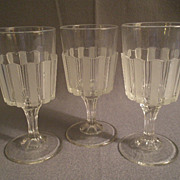 "EAPG - ""Frosted Ribbon"" Pattern , Set of  3 Water Goblets"
