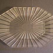 EAPG - &quot;Frosted Ribbon&quot; Pattern Oblong Platter w/Cut Corners