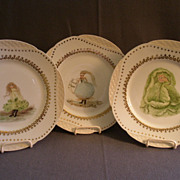 Set of 3 - Haviland & Co, Limoges Hand Painted Cabinet Plates w/Vegetable Ladies Motifs