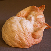 Cybis Porcelain &quot;Topaz&quot; - Sleeping Kitten Figurine