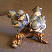 Tay Porcelain &quot;Pair of Fledgling Blue BIrds&quot; Figurine