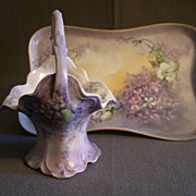 Porcelain Hand-Painted Dresser Tray & Basket w/Spring Violets Floral Motif