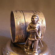 Victorian Silver-Plated Figural Napkin Ring w/Eskimo Figure