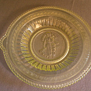 EAPG -  Cupid & Venus (Guardian Angel)  Bread Tray in Vaseline Glass