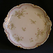 Charles Haviland & Co. Limoges Chop Plate w/Delicate Pink Floral & Bellflower Border