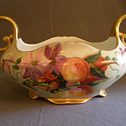 Austria Painted Handled Console Bowl w/Floral & Fruit Motif