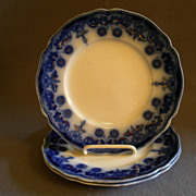 "Set of 3 Johnson Bros Flow Blue ""Stanley"" Pattern Luncheon Plates"