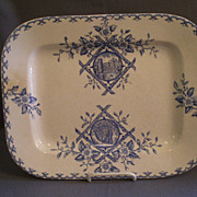 "William Emberton & Co. ""Alaska"" Pattern Blue Transfer-ware Platter"
