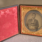 Antique Union Case w/Daguerrotype of Victorian Gentleman