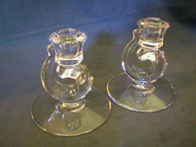 Pair of Fostoria &quot;Century&quot; Single Candleholders