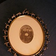 Ornate Victorian Brass Oval Picture Frame with print