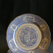 "Set of 2 Ridgways Blue Transferware ""Oriental"" Pattern Dinner Plates"
