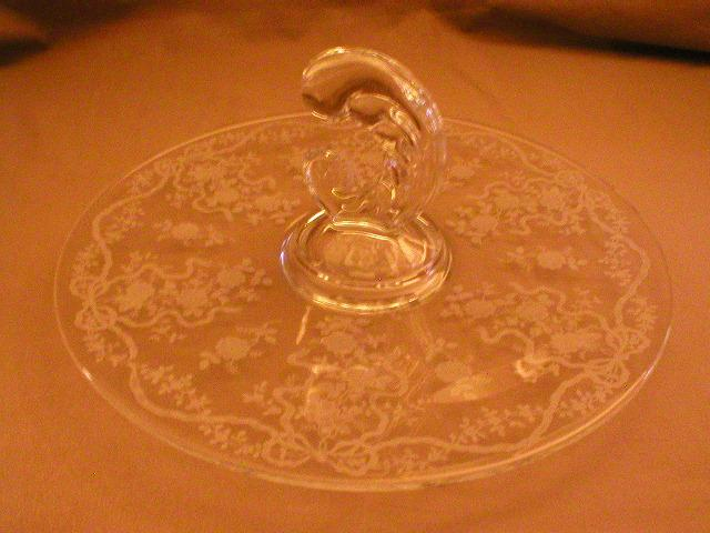 "Fostoria Etched ""Romance"" Pattern Center Handle Tray"