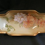 R.S.Germany (Green Mark) Relish Tray w/White & Peach Dahlia Floral Decoration