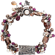 Anne Choi, Pearl, Oregon Sunstone, Ruby Sterling Silver Bracelet