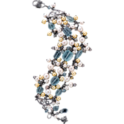 Aquamarine, Akoya Pearls, Morganite, Bracelet Sterling Silver