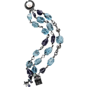 Aquamarine, Iolite and Freshwater Pearls Sterling Silver Bracelet