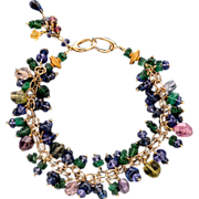 Emerald, Sapphire and Tanzanite 18k Bracelet with 14k Yellow Gold