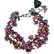 Multicolored Tourmaline and Diamond Bracelet Sterling Silver Chain