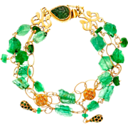 Hammered Emerald Nugget and Pave Gold Bracelet