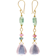 Rose Quartz and Tourmaline 18k Yellow Gold Earrings