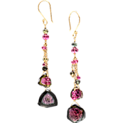 Tourmaline Slice 14k and 18K Yellow Gold Dangle Earrings