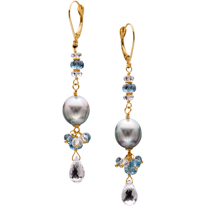 Cultured Tahitian Pearl, Emerald and 18k Yellow Gold Dangle Earrings