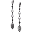 Tahitian Pearl, Rose Cut, Pave Diamond, Spinel Dangle Earrings