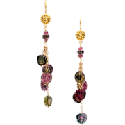 Watermelon Tourmaline 18K and 14K Gold Dangle Earrings
